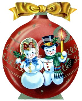 picture of a Christmas tree decoration with a snow man, and snow women in a vector clip art illustration