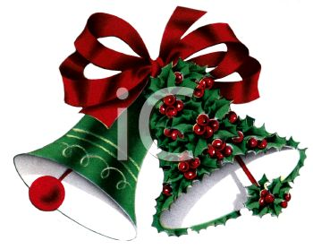picture of Christmas bells with a Red bow. one is covered in holly berries in a vector clip art illustration