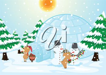 picture of reindeer decorating their igloo home with snowmen and lights in a vector clip art illustration