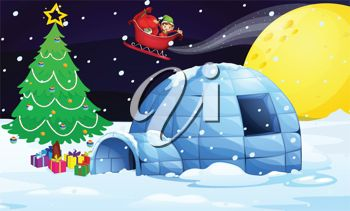 picture of an elf flying in a sled deliving gifts to an igloo home in a vector clip art illustratin