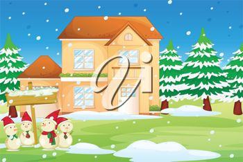 picture of a holiday scene with snowmen, snowy trees and a beautiful two story house in a vector clip art illustration