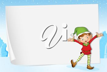 picture of  a dancing elf standing in front of a white paper on a snowy blue background in a vector clip art illustration