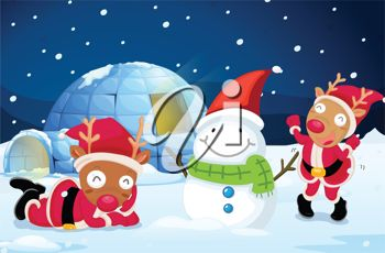 picture of santa's reindeer's dressed as santa decorating a snowman by their igloo home, one reindeer is slaying on the ground being lazy in a vector clip art illustration