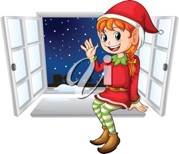 picture of  a female Christmas elf sitting in a window sill waving in the evening snowy night in a vector clip art illustration