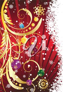 picture of a beautiful christmas scene with a red background and colorful decorations in a vector clip art illustration