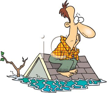 picture of a frustrated man sitting on his roof in with his house flooded under water in a vector clip art illustration