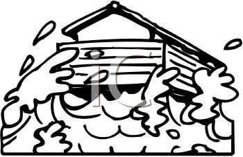 picture of a house in a flood in a vector clip art illustration