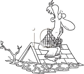 picture of a man on his roof in a flood with his house under water in a vector clip art illustration