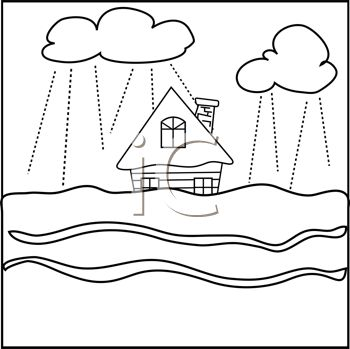 picture of a house in the center of a tsunami flood in a vector clip art illustration