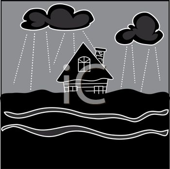 picture of a house in the center of a tsunami flood in the evening in a vector clip art illustration