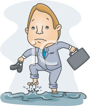 picture of a business holding his shoes walking through a flood in a vector clip art illustration