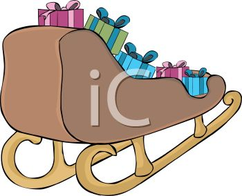 picture of a sled full of wrapped christmas gifts in a vector clip art illustration