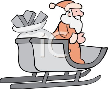 picture of a sled full of wrapped christmas gifts and santa standing in the sled in a vector clip art illustration
