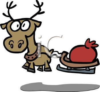picture of a cartoon reindeer with big eyes pulling a red bag of toys in a vector clip art illustration