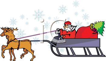 picture of Santa in a sled with a bag of toys and a christmas tree being pulled by his reindeer in a vector clip art illustration