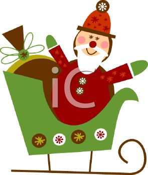 picture of a toy santa and other gifts in a green sled in a vector clip art illustration