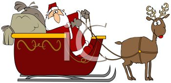 picture of Santa in a sled with bags of gifts being pulled by rudolf in a vector clip art illustration