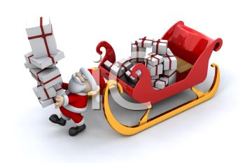picture of a cartoon santa carrying a tall stack of gifts from his sled in a vector clip art illustration