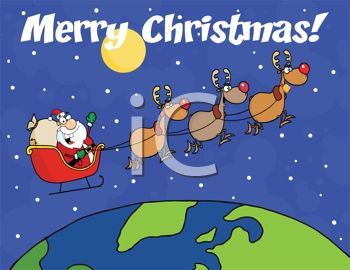 picture of a cartoon of santa and his reindeer flying in the atmostphere delivering gifts with a merry christmas message in a vector clip art illustration