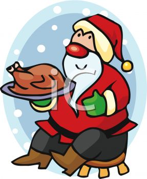 picture of a cartoon Santa sitting on a stool holding a cooked turkey on a platter in a vector clip art illustration