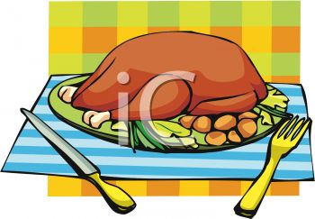 picture of a cooked turkey on a platter with the trimmings in a vector clip art illustration