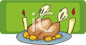 picture of a fresh cooked turkey on a platter with two burning candles for the holidays in a vector clip art illustration