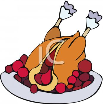 picture of a Cooked turkey stuffed with Cranberries on a platter in a vector clip art illustration