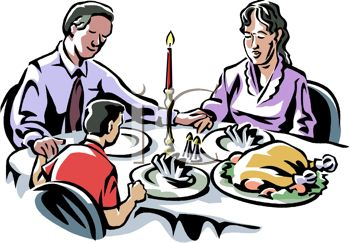 picture of a family at the dinner table on Christmas praying for thanks for their Food in a vector clip art illustration