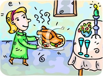 picture of a young girl carrying a turkey dinner to the table in a vector clip art illustration