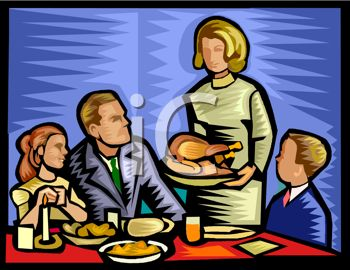 picture of a woman serving a turkey to her family in a vector clip art illustration