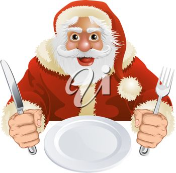 picture of a cartoon Santa Clause sitting at a table holding a fork and a knife waiting for his food in a vector clip art illustration