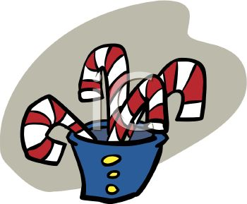 picture of red and white striped candy canes in a blue cup with yellow buttons in a vector clip art illustration
