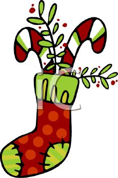 picture of striped candy canes and greenery in a Christmas stocking in a vector clip art illustration
