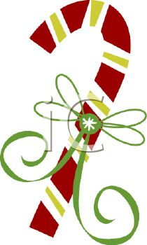 picture of a striped candy cane with a green ribbon in a  vector clip art illustration