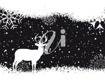 picture of a holiday scene in the evening with snowflakes and a silhouette of a deer in a vector clip art illustration