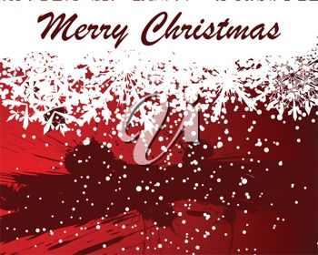 picture of a christmas card with snowflakes on a red background with a merry christmas print in a vector clip art illustration