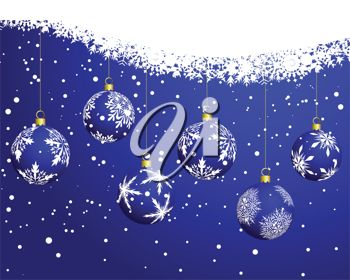 picture of a christmas card with a blue background with snowflakes and hanging baubles in a vector clip art illustration
