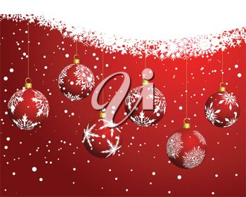 picture of a christmas card with a red background with snowflakes and hanging baubles in a vector clip art illustration