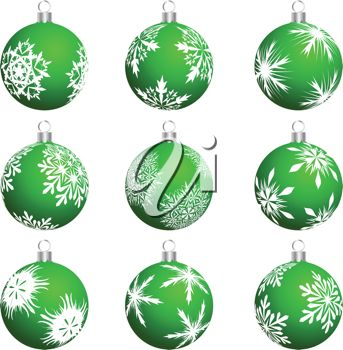 picture of  green christmas ball decorations in a vector clip art illustration