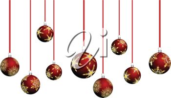 picture of  red christmas ball decorations in a vector clip art illustration