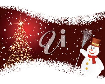 picture of a christmas card with a red background and snowflakes, a lit tree, and a snowman holding a stick broom in a vector clip art illustration