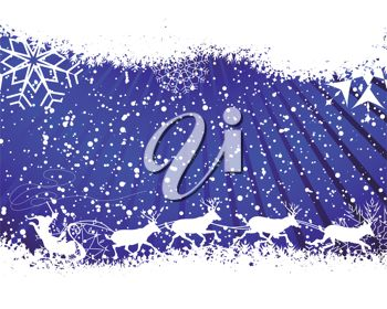picture of a christmas card on a blue background with snowflakes and Santa and his Reindeer preparing to take off in a vector clip art illustration