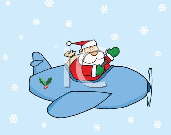 picture of santa claus flying in an airplane delivering gifts in a vector clip art illustration