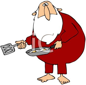 picture of santa clause wearing his pajamas holding a spatula and skillet of eggs in a vector clip art illustration