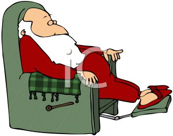 picture of santa claus in his pajamas and slipppers reclining in his chair taking a nap in a vector clip art illustration