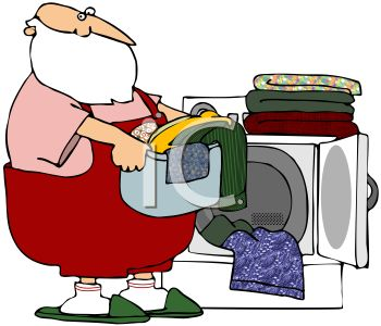 picture of santa claus wearing overalls and slippers, putting his clean laundry into a basket in a vector clip art illustration