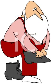 picture of santa clause getting on his boots in a vector clip art illustration