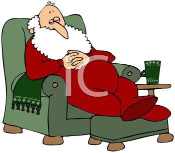 picture of santa clause relaxing in his chair with his feet propped taking a nap in a vector clip art illustration