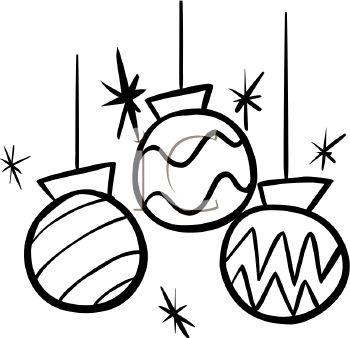 picture of christmas ornaments in black and white in a vector clip art illustration