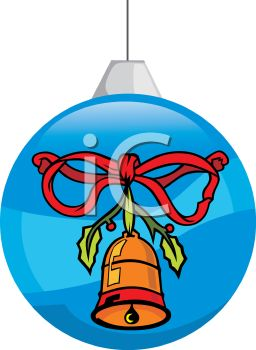 picture of  a blue  Christmas tree decoration With a bell and red bow painted on the side in a vector clip art illustration
